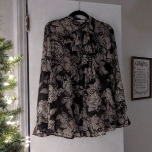 Gorgeous Black and Cream Floral CAbi Blouse